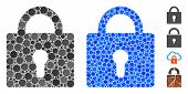 Lock Mosaic Of Round Dots In Variable Sizes And Color Tints, Based On Lock Icon. Vector Round Dots A poster