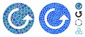 Repeat Mosaic Of Round Dots In Variable Sizes And Color Hues, Based On Repeat Icon. Vector Round Dot poster