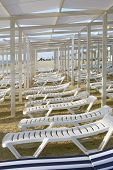 White Chaise Lounges Stand In A Row On A Sandy Beach, Perspective. Summer, Vacation At The Seaside poster