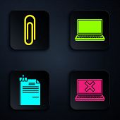 Set Laptop And Cross Mark On Screen, Paper Clip, File Document And Binder Clip And Laptop. Black Squ poster