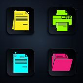 Set Document Folder, File Document, File Document And Paper Clip And Printer. Black Square Button. V poster