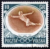 Postage stamp Poland 1956 Fencer, Olympic sports, Melbourne 56