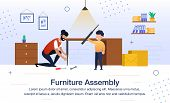 Furniture Assembly, Father Housework, Happy Fatherhood Trendy Flat Vector Banner, Poster Template. S poster