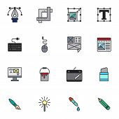 Creative Drawing Tool Filled Outline Icons Set, Line Vector Symbol Collection, Linear Colorful Picto poster