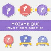 Mozambique Travel Stickers Collection. Big Set Of Stickers With Country Map And Name. Flat Material poster