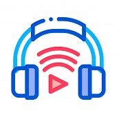 Headphones Host Device Icon Vector. Outline Headphones Host Device Sign. Isolated Contour Symbol Ill poster