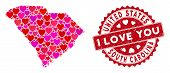 Love Collage South Carolina State Map And Grunge Stamp Watermark With I Love You Message. South Caro poster