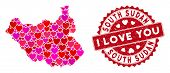 Love Mosaic South Sudan Map And Grunge Stamp Seal With I Love You Caption. South Sudan Map Collage C poster