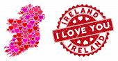 Lovely Collage Ireland Countries Map And Grunge Stamp Watermark With I Love You Message. Ireland Cou poster