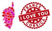 Lovely Collage Corsica France Island Map And Grunge Stamp Watermark With I Love You Text. Corsica Fr poster