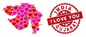 Love Collage Gujarat State Map And Rubber Stamp Watermark With I Love You Message. Gujarat State Map poster