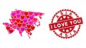 Love Collage Asia Map And Grunge Stamp Watermark With I Love You Caption. Asia Map Collage Composed  poster