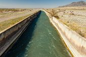 Water Flowing In An Irrigation Canal In Kyrgyzstan, Irrigation Canal Chuy Province poster