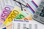 a business plan for starting a business. ideas and strategies for self-employment. euro bank notes a