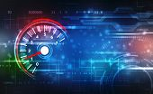 Speed Motion Background With Fast Speedometer Car. Racing Velocity Background, Digital Abstract Spee poster