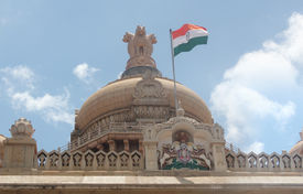 stock photo of vidhana soudha  - Indian national flag in tri color  - JPG
