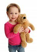 Smiling Girl Holding Teddy Bear