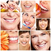 stock photo of human teeth  - Beautiful woman smile and teeth collage - JPG