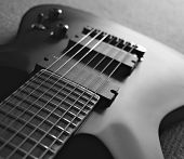 pic of fret  - Close up of seven string guitar - JPG