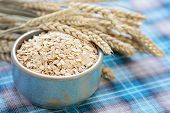 stock photo of cereal bowl  - bowl full of oats  - JPG