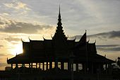 Silhouette Of Moonlight Pavailion Ar Sunset, Royal Palace, Phnom Penh, Cambodia