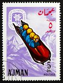Postage Stamp Ajman 1967 Four-man Bobsled, Winter Olympics