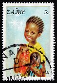 Postage Stamp Zaire 1981 Girl, Christmas