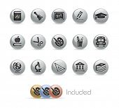 School & Education Icons // Metal Round Series --- It includes 4 color versions for each icon in different layers---