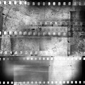Film negative frames, film strips. Black and white