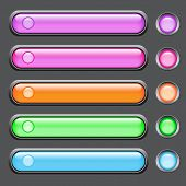 Vector set of colored glass buttons