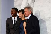LOS ANGELES - APR 9:  Chadwick Boseman, Calista Flockhart, Harrison Ford arrives at the