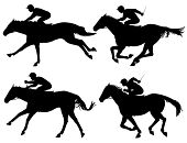 stock photo of thoroughbred  - Editable vector silhouettes of racing horses with horses and jockeys as separate objects - JPG