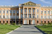 The building in the center of Irkutsk in Soviet monumental classicism style as a sample of the class