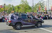 IRKUTSK, RUSSIA - JUNE,2 2012: The carnival on the streets of Irkutsk in honor of the City Day in Ju