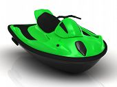 picture of waverunner  - Green sports watercraft - JPG