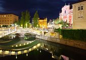Ljubljana At Night, With The Triple Bridge And Franciscan Church, Slovenia