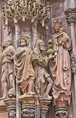 Sculpture Adoration Of The Magi. Strasbourg Cathedral