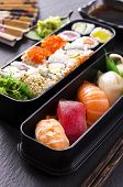image of masago  - bento box with sushi and rolls - JPG