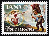 Postage Stamp Portugal 1970 Worker Carrying Basket Of Grapes