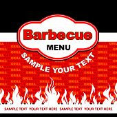 Diseño de tarjeta de menú de barbacoa.
