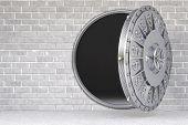 stock photo of bank vault  - the open door of a bank vault - JPG