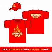 Barbecue party t-shirt and cap design.
