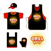 stock photo of gril  - Grill party kitchen set design - JPG