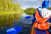 image of rafters  - Rafters in a rafting boat on Pistojoki river in Karelia - JPG