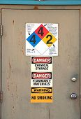 stock photo of klamath  - Door at s chemical and fertilizer plant in Klamath Falls Oregon - JPG