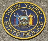 New State Police emblem on fallen officers memorial in Brooklyn, NY