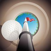 Bola de golfe no buraco