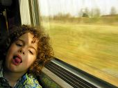 Little boy bored on the train journey