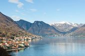stock photo of lagos  - Village in the shore of Lago Como in Italy - JPG