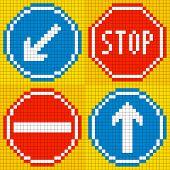 8-bit Pixel Road Traffic Signs
